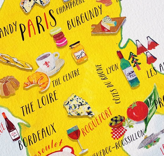 The Map Of France With The City.Putting France S Favorite Foods On The Map Southern Fried French