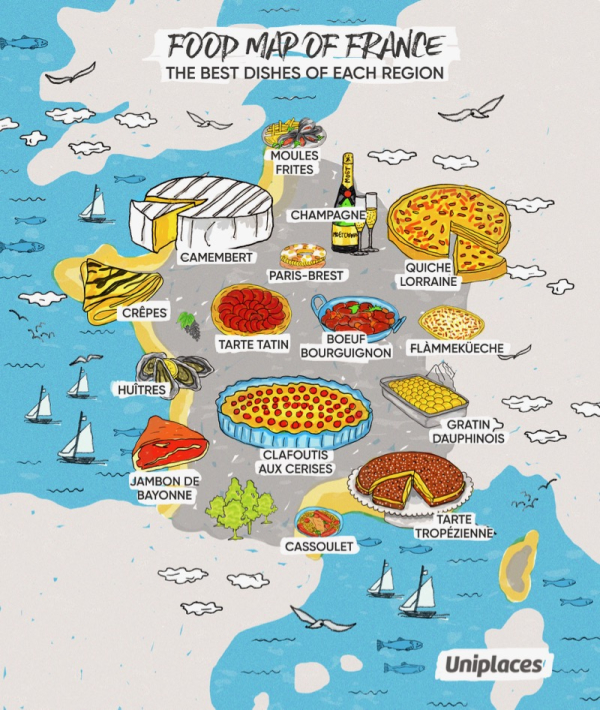 Map Of France Cartoon.Putting France S Favorite Foods On The Map Southern Fried French