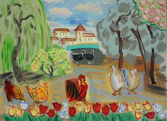 Farm birds and tulips lg